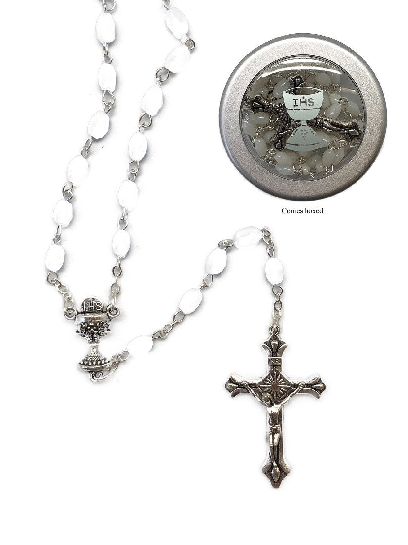 COMMUNION ROSARY BEADS IMITATION MOTHER OF PEARL