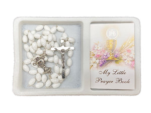 COMMUNION SET - BOOK AND ROSARY BEADS WHITE