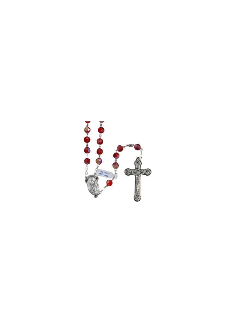 AURORA BOREALIS CRYSTAL ROSARY BEADS RED