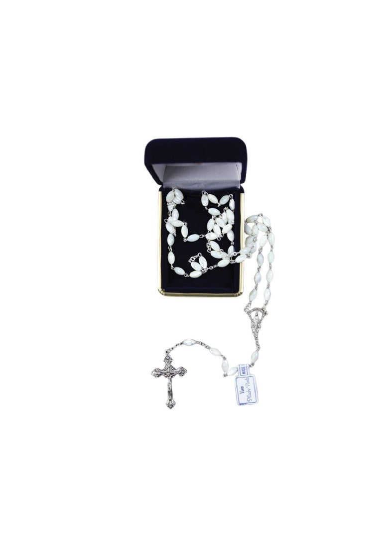MOTHER OF PEARL ROSARY BEADS WHITE