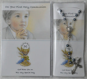 FIRST COMMUNION BOY KEEPSAKE AND ROSARY
