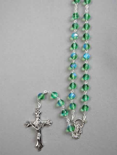 AURORA BOREALIS GLASS ROSARY BEADS GREEN