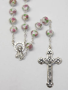 GLASS FACET ROSARY BEADS WHITE