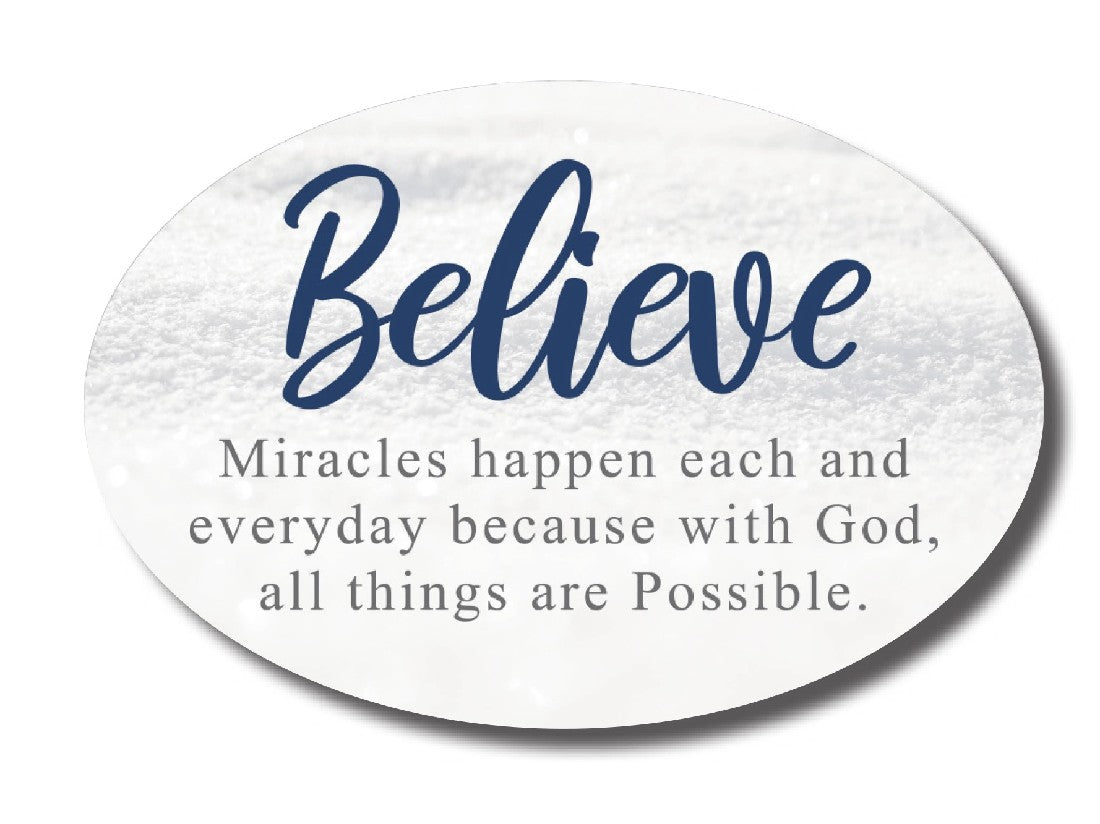 OVAL CERAMIC PLAQUES - BELIEVE