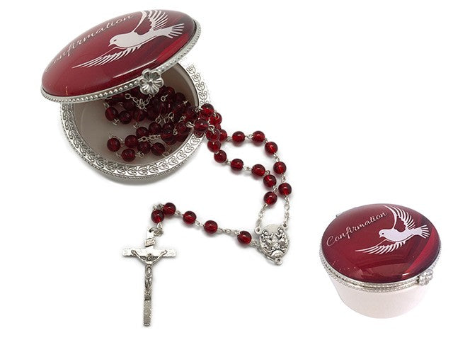 CONFIRMATION ROSARY BEADS IN PORCELAIN BOX