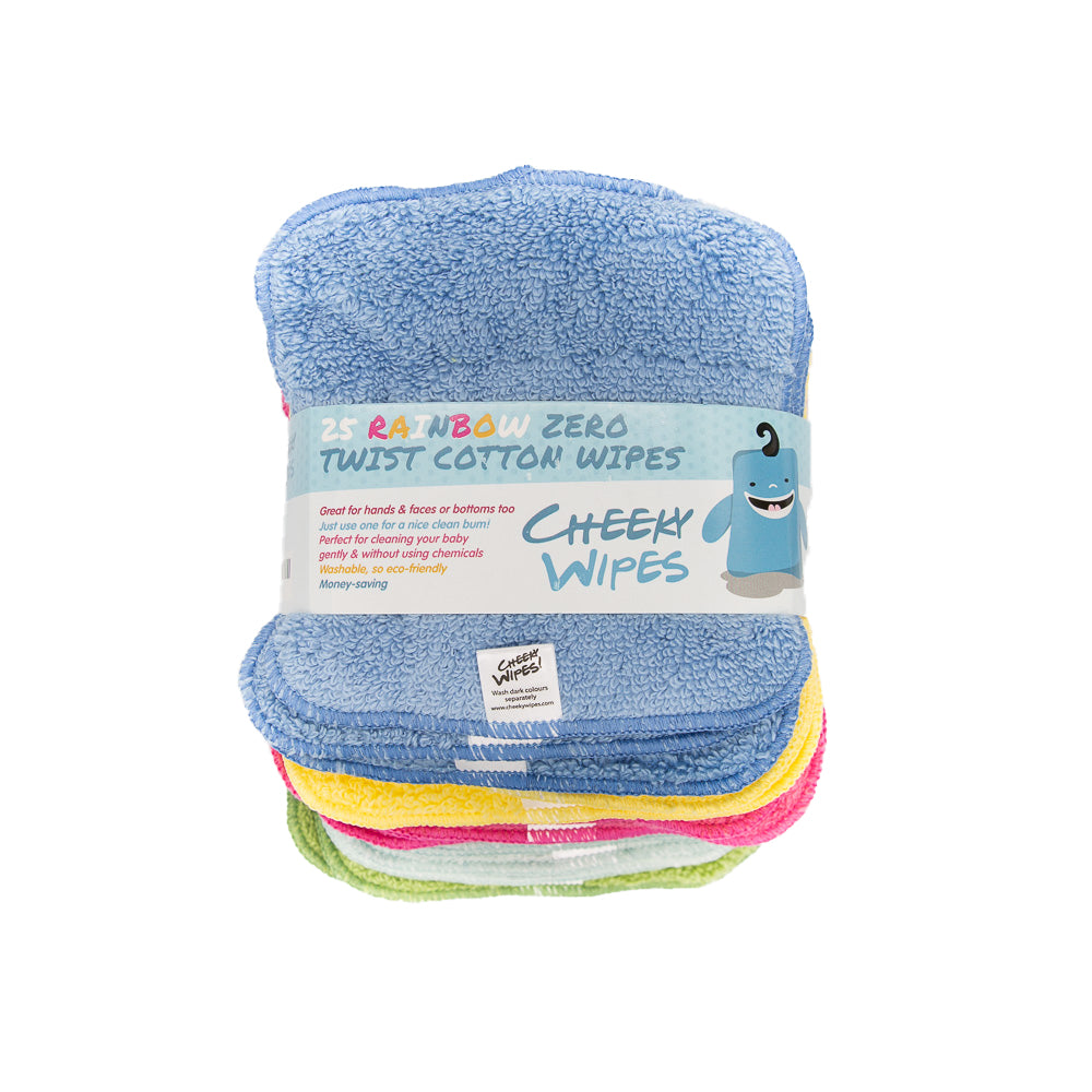 Cotton Bamboo Rainbow Cloth Wipes - Pack 25