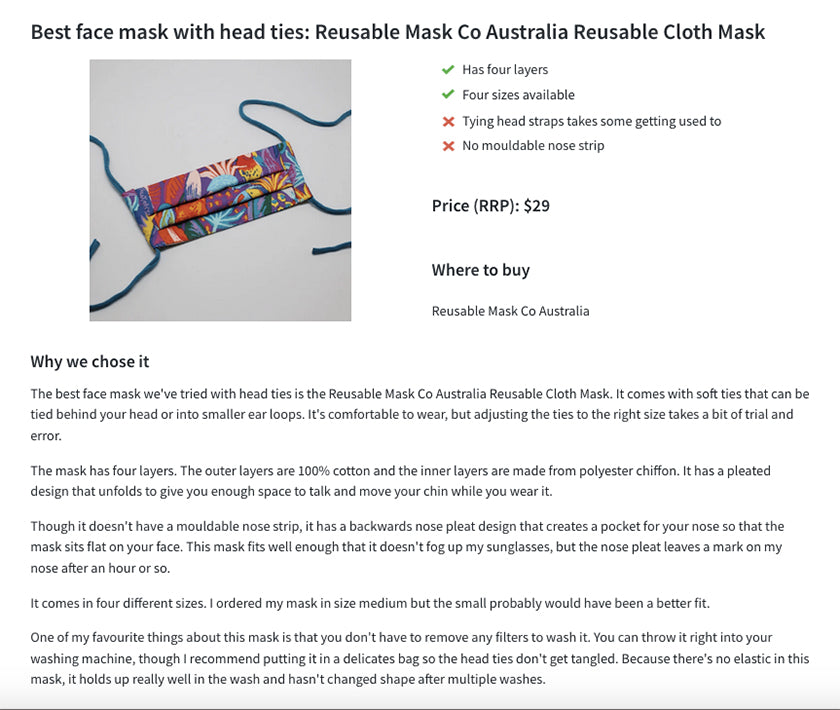 Reusable Mask Co featured on Finder