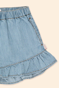 Tinycottons Striped Denim Frills Shorts