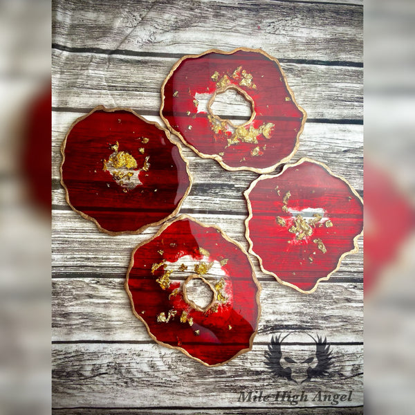 Red and Gold Geode Coasters