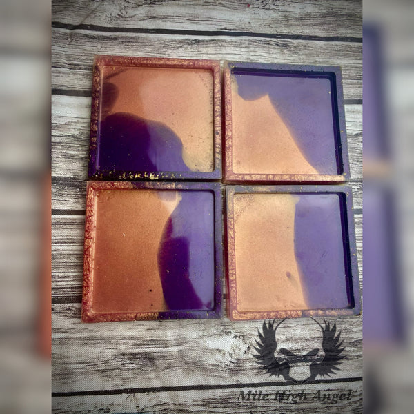 Purple and Pink Square Coasters