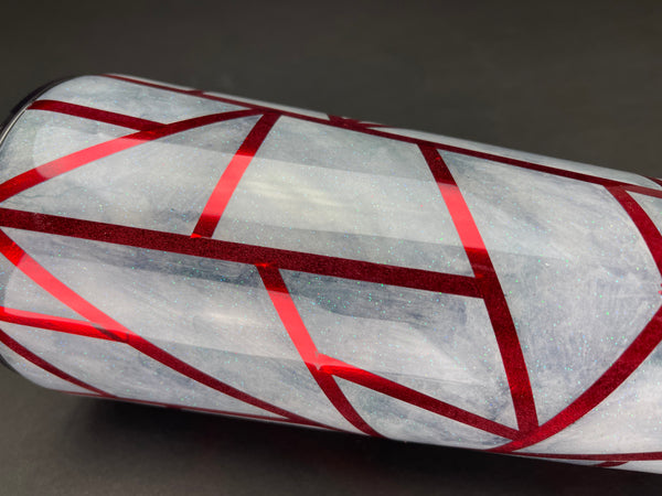 Grey and Red Geometric Tumbler