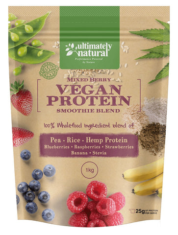 Real Mixed Berry Natural Vegan Protein Powder - Ultimately Natural