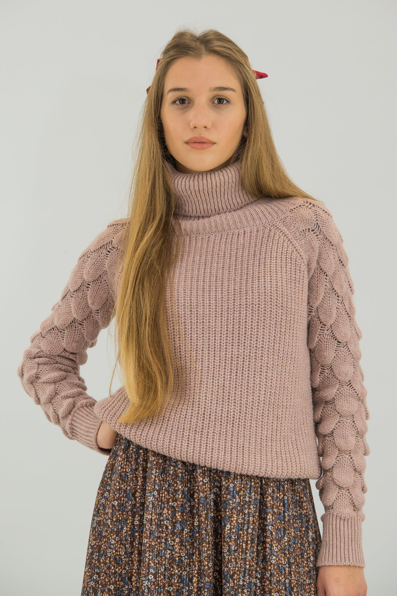 Turtleneck Sweater Mermaid Patterned Sleeves