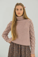 Load image into Gallery viewer, Turtleneck Sweater Mermaid Patterned Sleeves