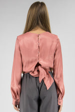 Load image into Gallery viewer, Satin Blouse Back Buttons