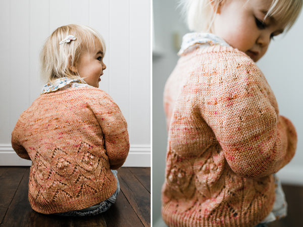 Detail shots of Magnolia little cardigan hand knit by Samantha Gehrmann of This Darling Home