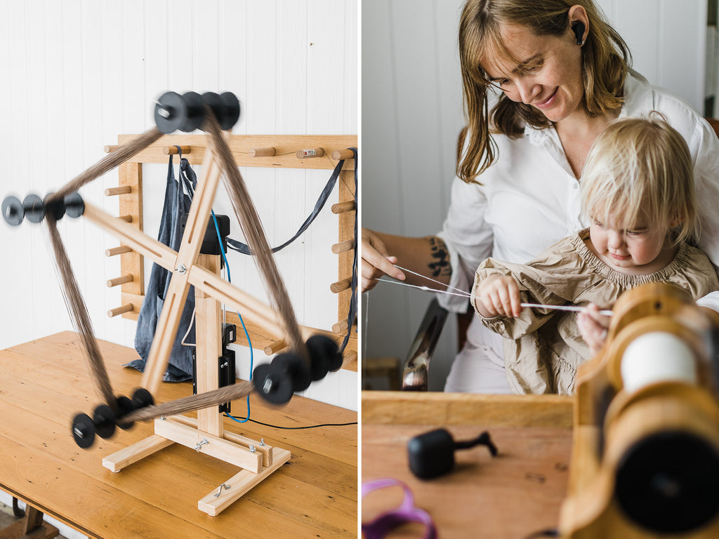 this darling home motorised skein winder and mother and daughter spinning yarn on a woolee Ann espinner