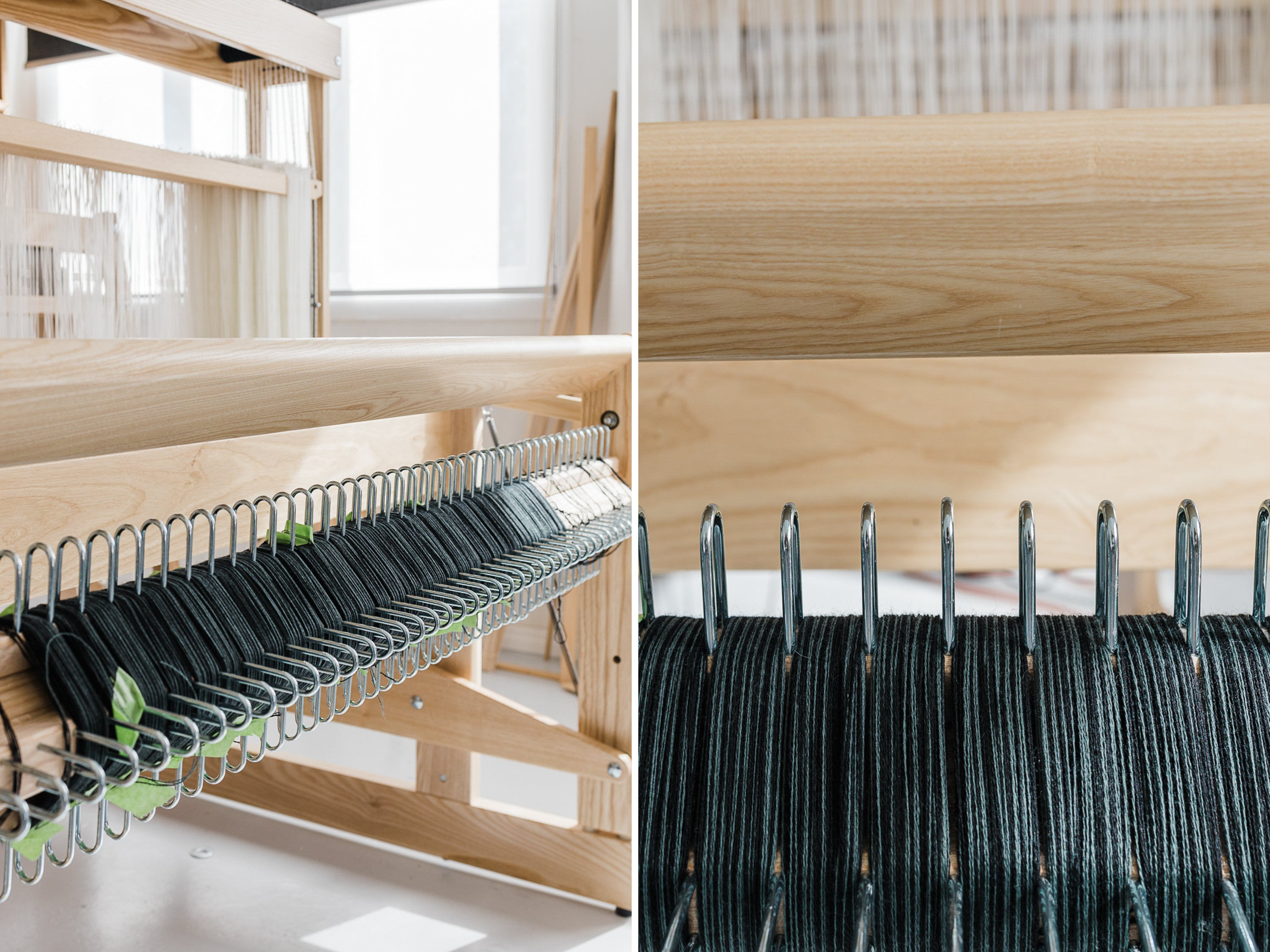 this darling home  handwoven scarf warp wound onto sectional beam of louet megado loom
