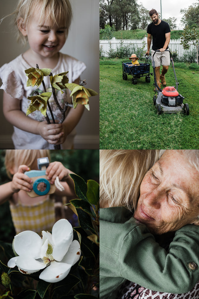 this darling home rainy day toddler activities including egg carton daffodils, mowing the lawn with dad, visits from nanny and photographing a magnolia flower