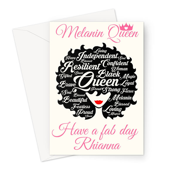 Melanin Queen Afro Words Birthday Card