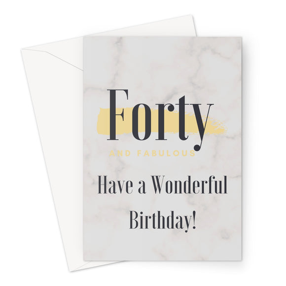 Cards | Milestone Birthday | 40 & Fabulous Marble/Gold