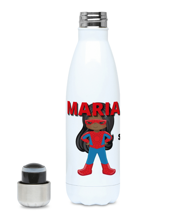 Personalised BlacklikeMe Spidey Superheroine personalised hydro flask. The picture features a hydro flask that has been personalised with the name Maria