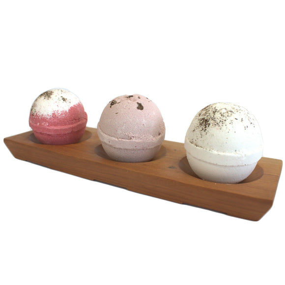 Large Mahogany Bath Bomb Holder with 3 Jumbo Bath Bombs