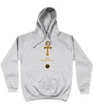 Product mockup photo of a heather gray personalised Ankh Hoodie. Large gold Ankh in the  centre of the hoodie, with the words Ankh, The key of Life capitalised in Gold Font directly underneath the hoodie, with a round BTMR logo underneath. Hoodie is on a plain white background