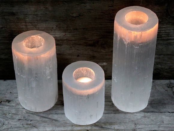 Tealight Holder | White Selenite | Cylinder | 4 Sizes