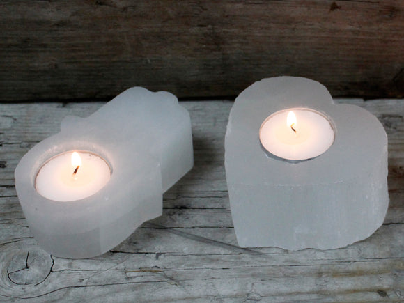 Tealight Holder | Selenite | Heart (small)