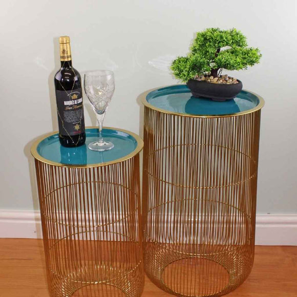 Decorative Tables | Aluminium | Gold & Teal