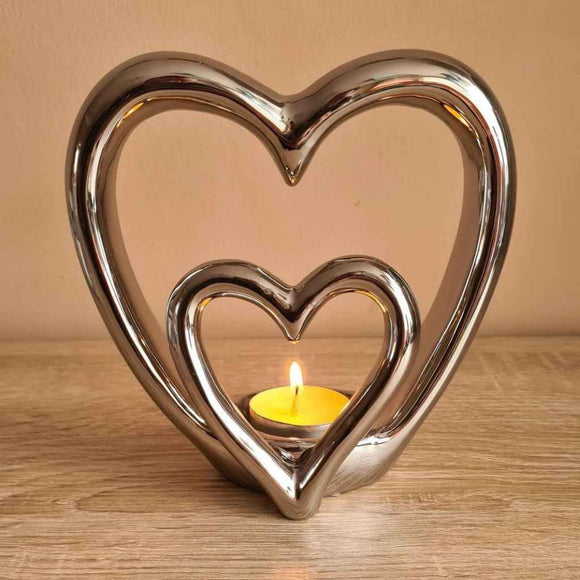 Double Heart | Ceramic Tealight Holder | Silver
