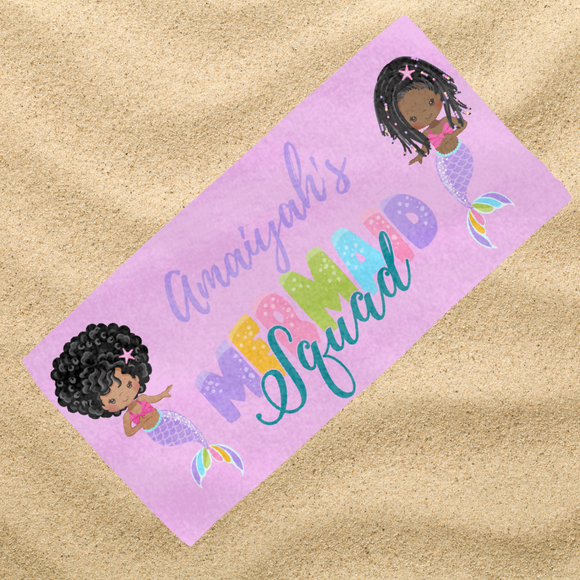 BlackLikeMe| Personalised Towels| Mermaid Squad
