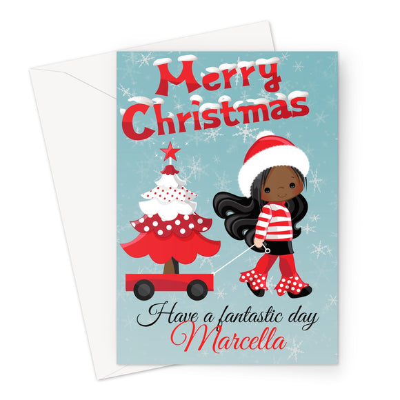 Boy/Girl with Sled/Snowman Personalised Merry Christmas Card