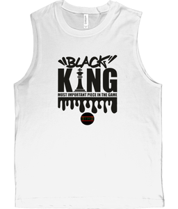 100% cotton Men's Muscle Top - Black King Chess (black)