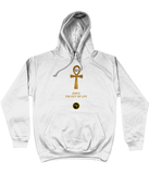 Product mockup photo of a white personalised Ankh Hoodie. Large gold Ankh in the  centre of the hoodie, with the words Ankh, The key of Life capitalised in Gold Font directly underneath the hoodie, with a round BTMR logo underneath. Hoodie is on a plain white background