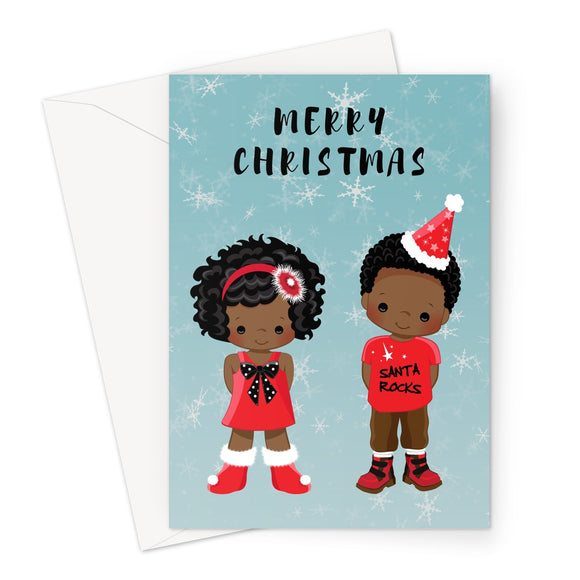2 Children  Merry Christmas Card
