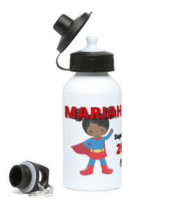 Girls Sports Water Bottle - Blue SuperHeroine