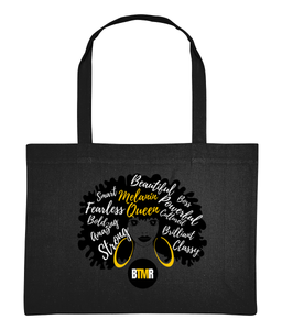 Melanin Queen Afro Words Large Shopping Bag