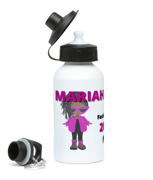 Personalised BLM Sports Water Bottle - Fluffy Fashionista Dreads