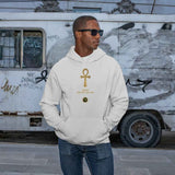 Adult black male model wearing a heather grey personalised hoodie, with a large gold Ankh symbol on the centre of the hoodie, with the words Ankh, The Key of Life with a small BTMR Round Logo underneath. Model has his hand in his pockets, and is wearing sunglasses