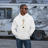 Adult black male model wearing a White personalised hoodie, with a large gold Ankh symbol on the centre of the hoodie, with the words Ankh, The Key of Life with a small BTMR Round Logo underneath. Model has his hand in his pockets, and is wearing sunglasses