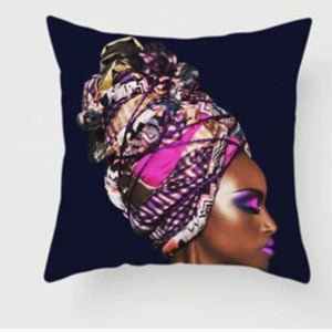 Black Linen Cushion Cover and Cushion 45*45 cm, double sided print of a beautiful African women in a brightly cooured purple headwrap,