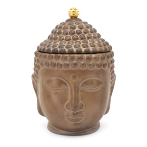 Storage Jar | Bronze effect Ceramic | Buddha Head