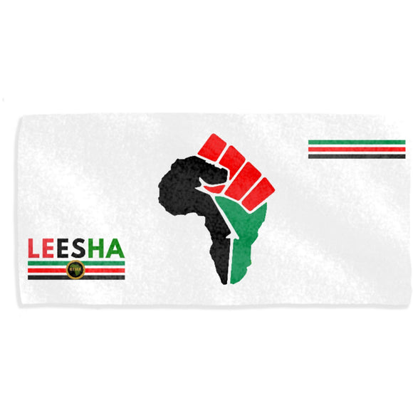 Conscious| Personalised Towels | Africa RBG Power Fist