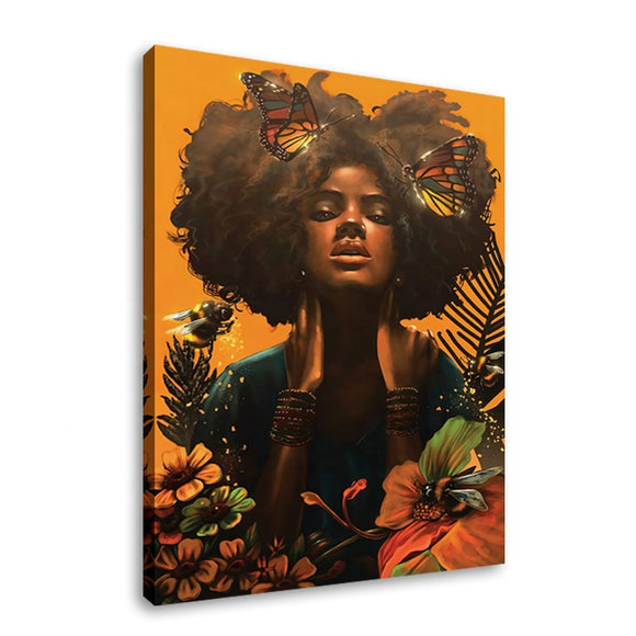 Butterfly Afro Digital Canvas Print