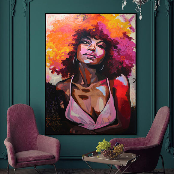 BTMR Home - Girl Afro Abstract Digital Canvas Print