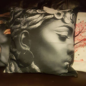 Monochrome Lady Black Linen Cushion