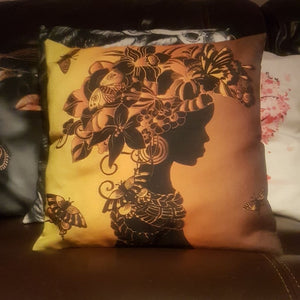 Lady & Butterflies Black Linen Cushion