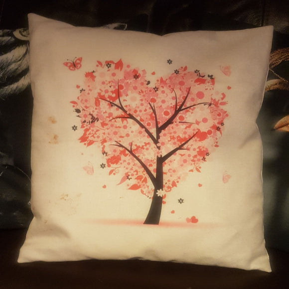 White Linen Cushion - Heart Tree